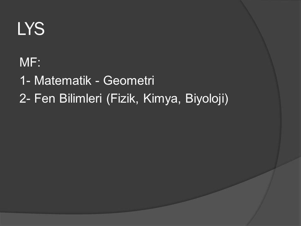 LYS MF: 1- Matematik - Geometri 2- Fen Bilimleri (Fizik, Kimya, Biyoloji)