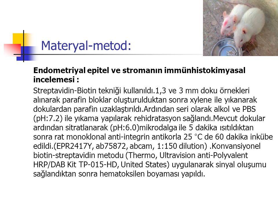 Materyal-metod: Endometriyal epitel ve stromanın immünhistokimyasal incelemesi : Streptavidin-Biotin tekniği kullanıldı.1,3 ve 3 mm doku örnekleri alı