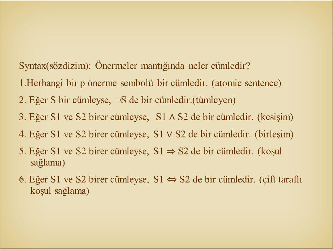 Syntax(sözdizim): Önermeler mantığında neler cümledir? 1.Herhangi bir p önerme sembolü bir cümledir. (atomic sentence) 2. Eğer S bir cümleyse, ¬S de b