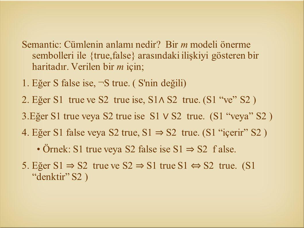 Semantic: Cümlenin anlamı nedir? Bir m modeli önerme sembolleri ile {true,false} arasındaki ilişkiyi gösteren bir haritadır. Verilen bir m için; 1. Eğ