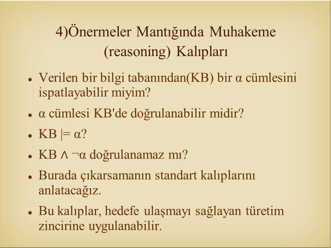 Verilen bir bilgi tabanından(KB) bir α cümlesini ispatlayabilir miyim? α cümlesi KB'de doğrulanabilir midir? KB |= α? KB ∧ ¬α doğrulanamaz mı? Burada