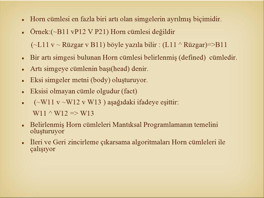 Horn cümlesi en fazla biri artı olan simgelerin ayrılmış biçimidir. Örnek:(~B11 vP12 V P21) Horn cümlesi değildir (~L11 v ~ Rüzgar v B11) böyle yazıla
