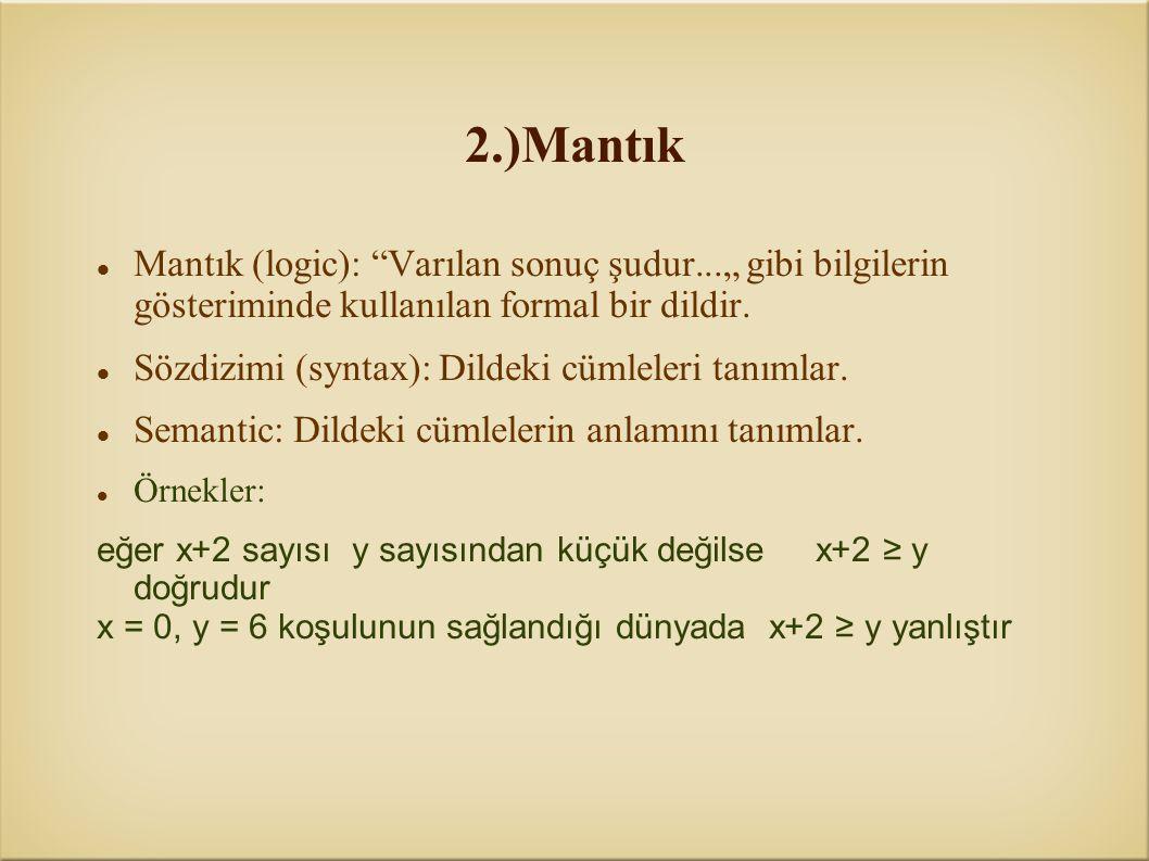 """2.)Mantık Mantık (logic): """"Varılan sonuç şudur..."""" gibi bilgilerin gösteriminde kullanılan formal bir dildir. Sözdizimi (syntax): Dildeki cümleleri ta"""