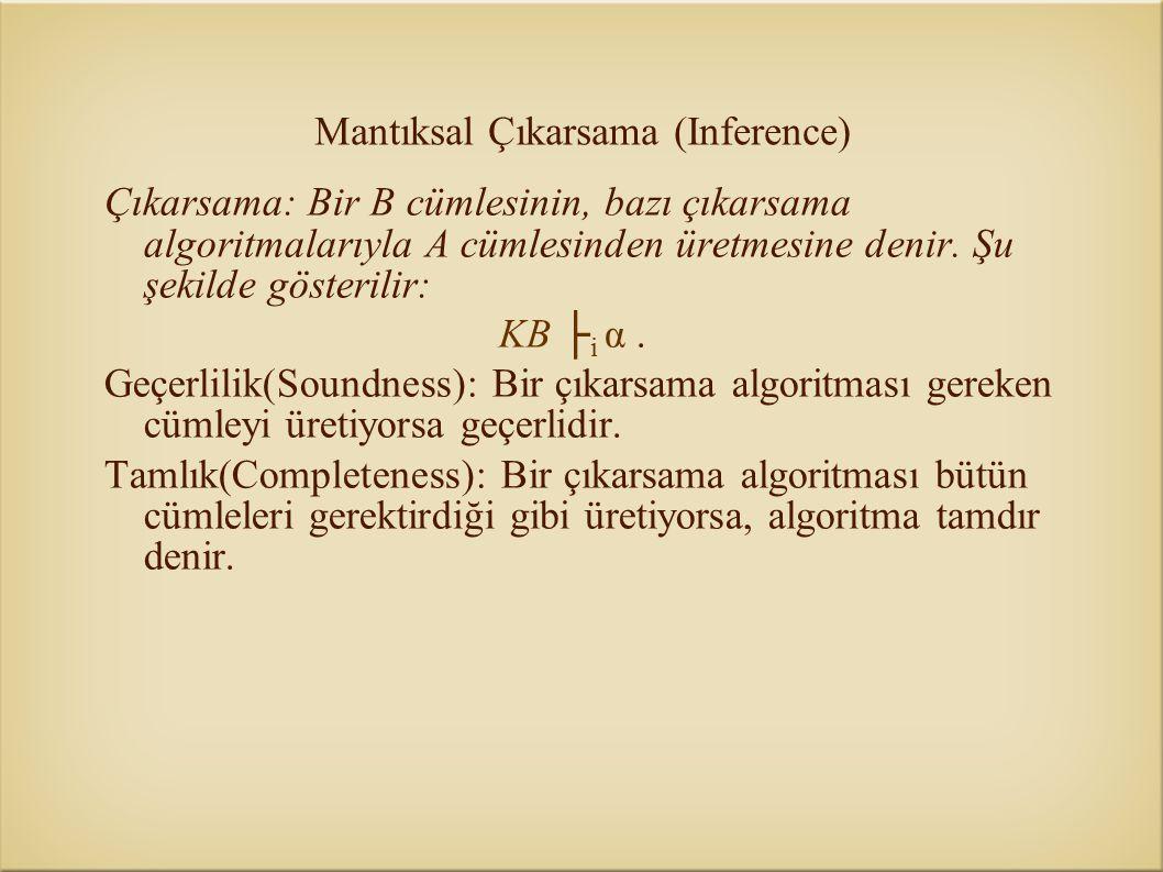 Mantıksal Çıkarsama (Inference) Çıkarsama: Bir B cümlesinin, bazı çıkarsama algoritmalarıyla A cümlesinden üretmesine denir. Şu şekilde gösterilir: KB