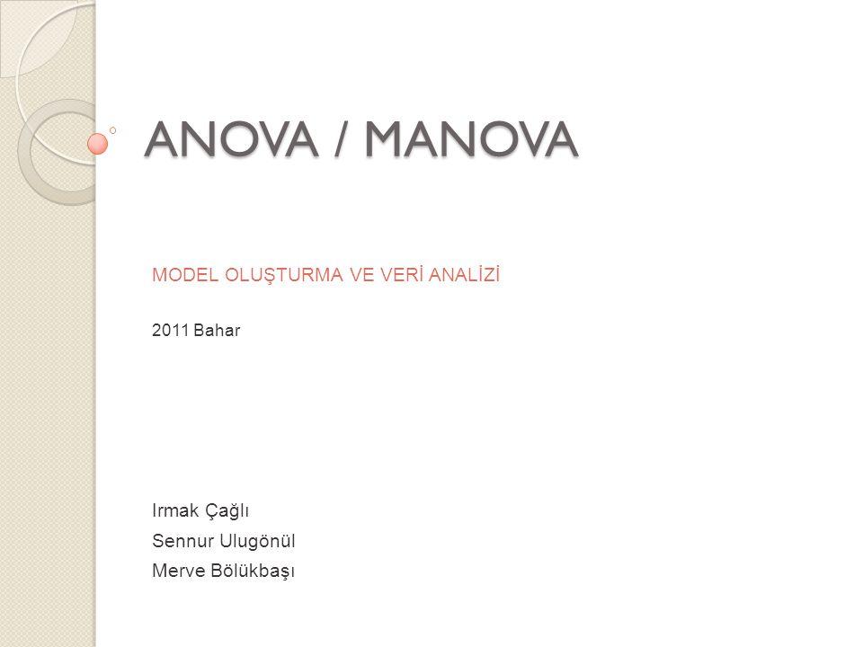 ANOVA İki yönlü ANOVA ile cevaplanabilecek üç soru: A faktörünün herhangi bir temel etkisi var mı.