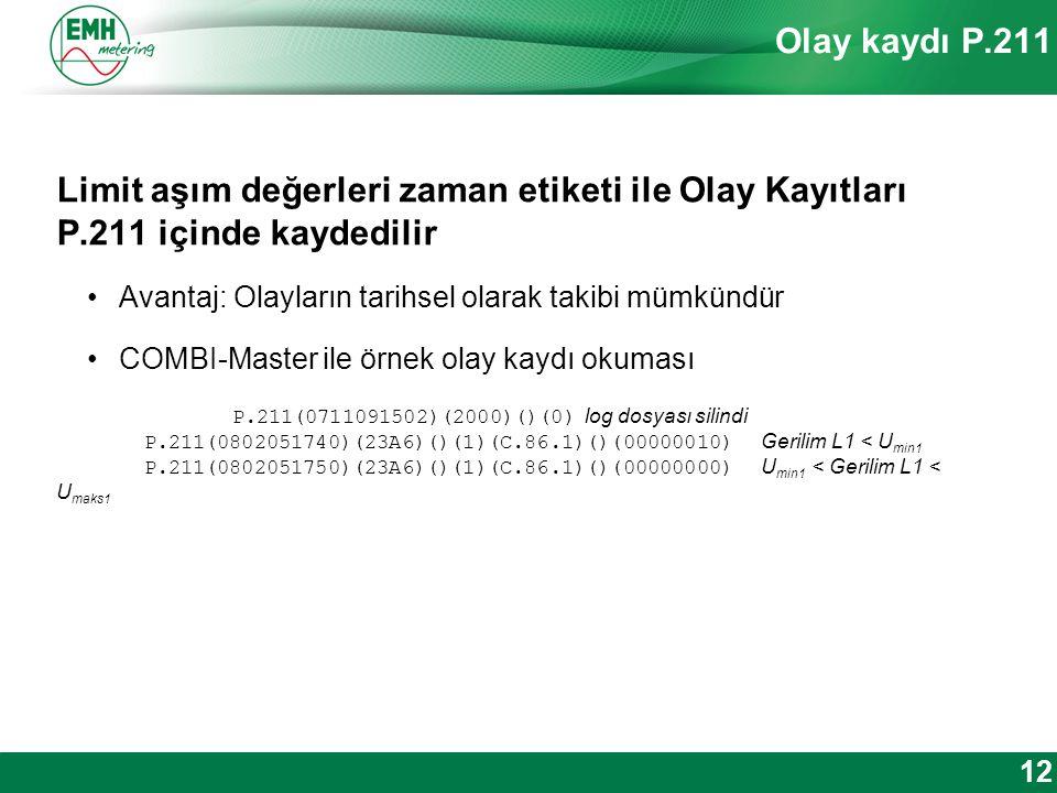 Kontakt | Version © 2012 Olay kaydı P.211 Limit aşım değerleri zaman etiketi ile Olay Kayıtları P.211 içinde kaydedilir Avantaj: Olayların tarihsel olarak takibi mümkündür COMBI-Master ile örnek olay kaydı okuması P.211(0711091502)(2000)()(0) log dosyası silindi P.211(0802051740)(23A6)()(1)(C.86.1)()(00000010) Gerilim L1 < U min1 P.211(0802051750)(23A6)()(1)(C.86.1)()(00000000) U min1 < Gerilim L1 < U maks1 12