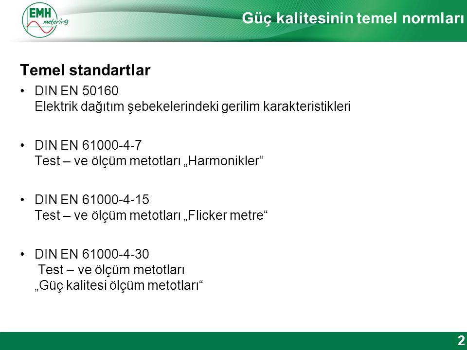 Kontakt | Version © 2012 Güç kalitesinin temel normları Temel standartlar DIN EN 50160 Elektrik dağıtım şebekelerindeki gerilim karakteristikleri DIN