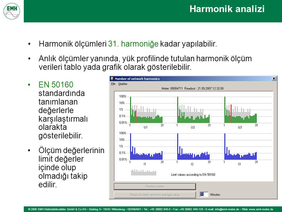 © 2008 EMH Elektrizitätszähler GmbH & Co KG Südring 5 19243 Wittenburg GERMANY Tel.: +49 38852 645-0 Fax: +49 38852 645-129 E-mail: info@emh-meter.de Web: www.emh-meter.de Harmonik analizi Harmonik ölçümleri 31.