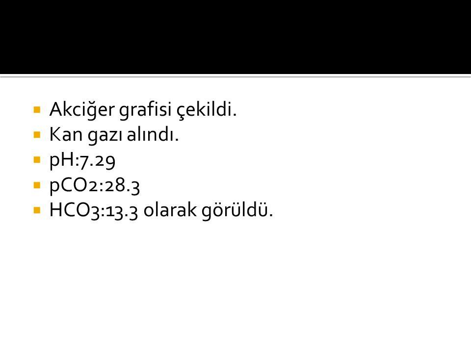  Akciğer grafisi çekildi.  Kan gazı alındı.  pH:7.29  pCO2:28.3  HCO3:13.3 olarak görüldü.