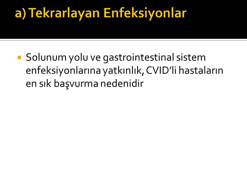  Solunum yolu ve gastrointestinal sistem enfeksiyonlarına yatkınlık, CVID'li hastaların en sık başvurma nedenidir