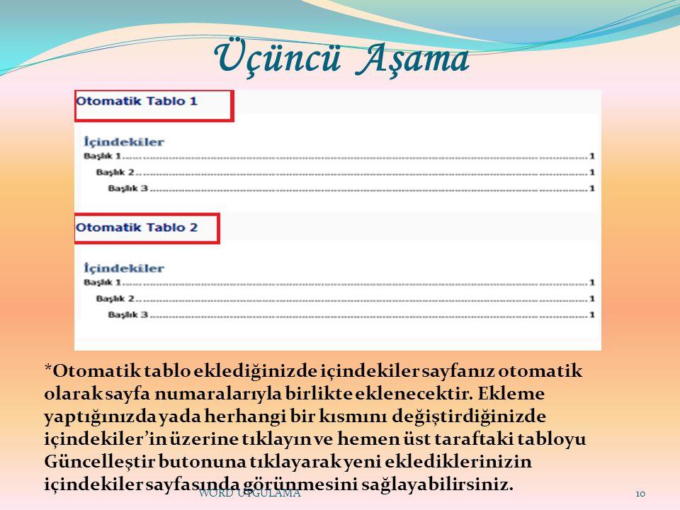 Üçüncü Aşama 10 *Otomatik tablo eklediğinizde içindekiler sayfanız otomatik olarak sayfa numaralarıyla birlikte eklenecektir.