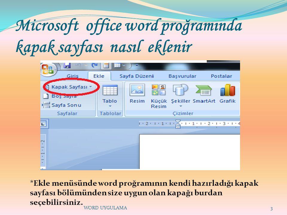 Microsoft office word proğramında kapak sayfası nasıl eklenir 3 *Ekle menüsünde word proğramının kendi hazırladığı kapak sayfası bölümünden size uygun olan kapağı burdan seçebilirsiniz.