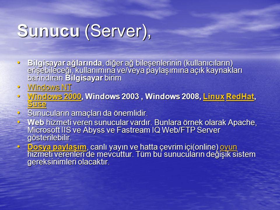 Sunucu (Server), Bilgisayar ağlarında, diğer ağ bileşenlerinin (kullanıcıların) erişebileceği, kullanımına ve/veya paylaşımına açık kaynakları barındı