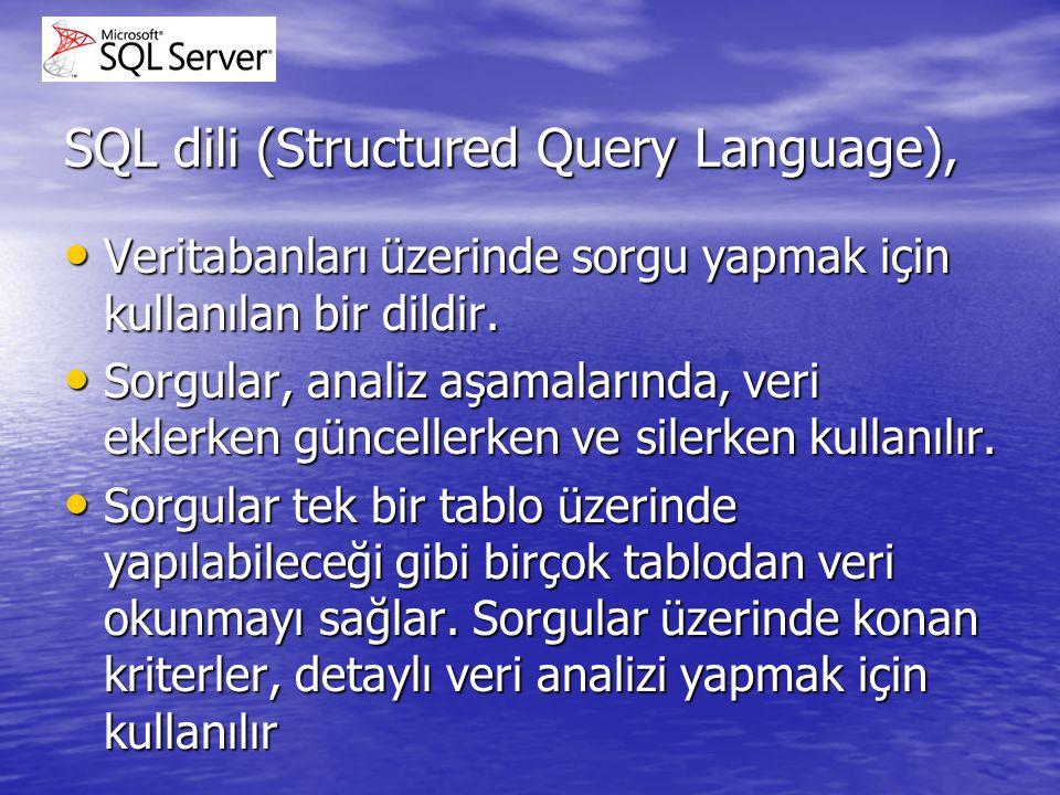 SQL dili (Structured Query Language), Veritabanları üzerinde sorgu yapmak için kullanılan bir dildir. Veritabanları üzerinde sorgu yapmak için kullanı