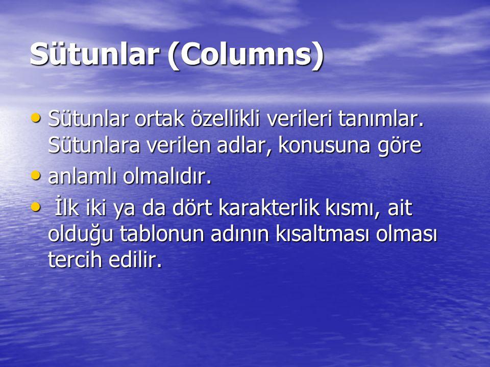 Sütunlar (Columns) Sütunlar ortak özellikli verileri tanımlar. Sütunlara verilen adlar, konusuna göre Sütunlar ortak özellikli verileri tanımlar. Sütu