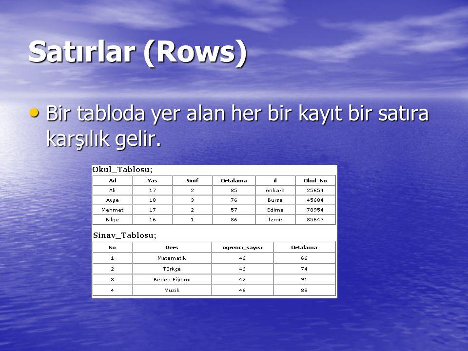 Satırlar (Rows) Bir tabloda yer alan her bir kayıt bir satıra karşılık gelir. Bir tabloda yer alan her bir kayıt bir satıra karşılık gelir.