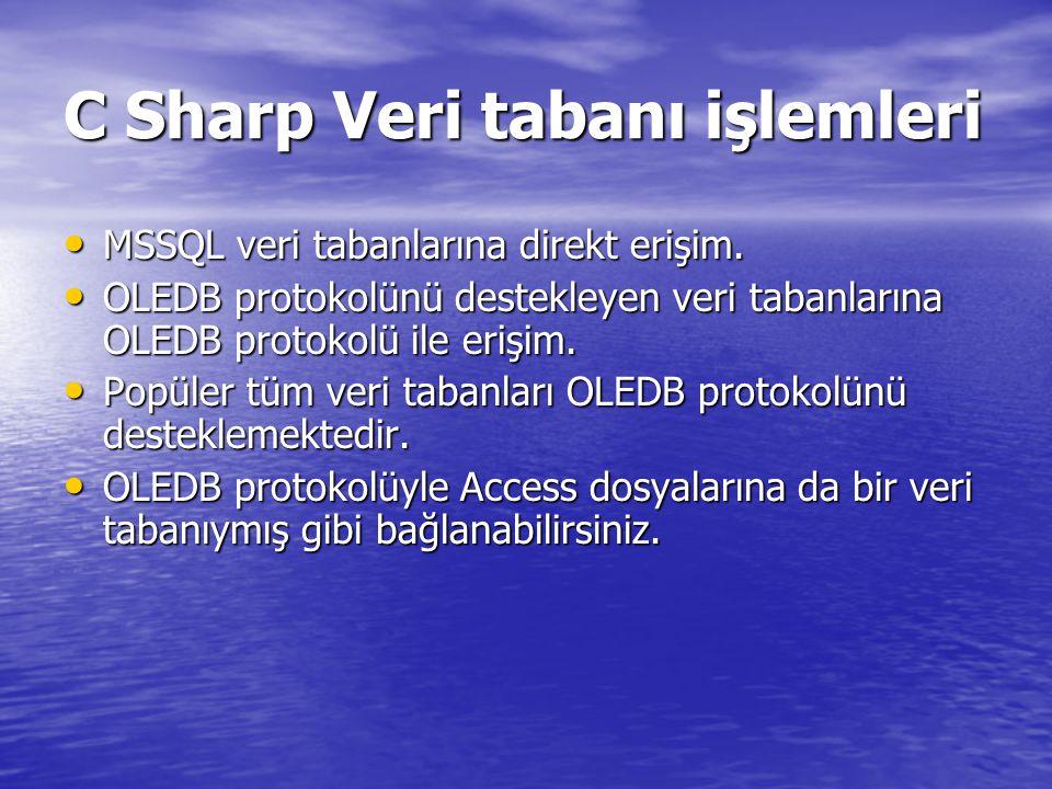 C Sharp Veri tabanı işlemleri MSSQL veri tabanlarına direkt erişim. MSSQL veri tabanlarına direkt erişim. OLEDB protokolünü destekleyen veri tabanları