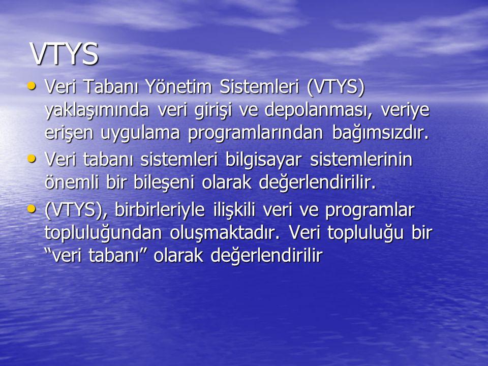 VTYS Veri Tabanı Yönetim Sistemleri (VTYS) yaklaşımında veri girişi ve depolanması, veriye erişen uygulama programlarından bağımsızdır. Veri Tabanı Yö
