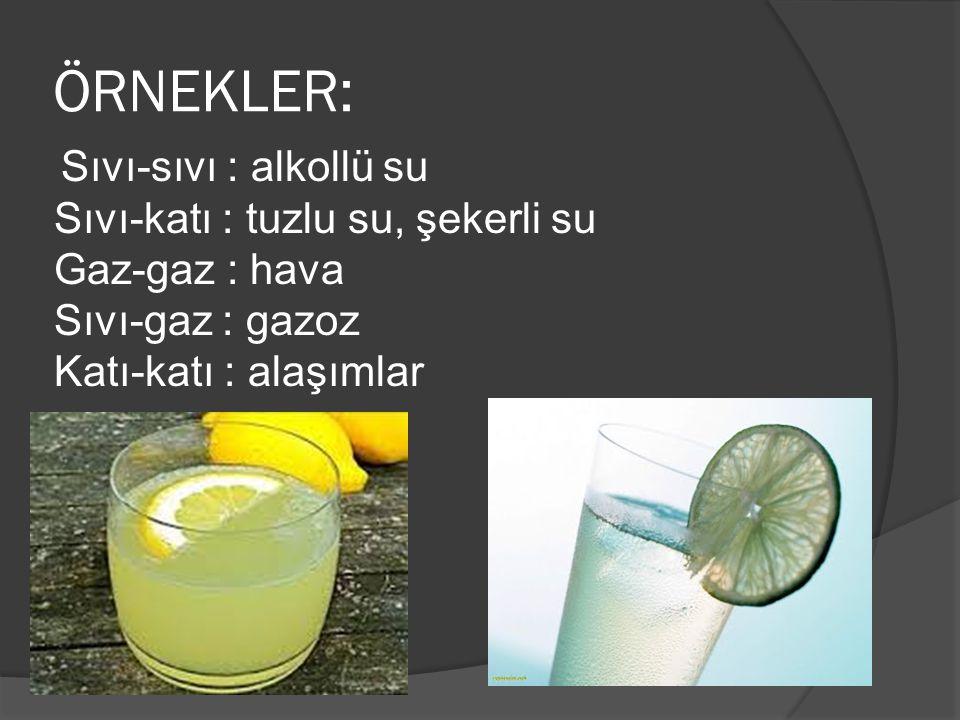 ÖRNEKLER: Sıvı-sıvı : alkollü su Sıvı-katı : tuzlu su, şekerli su Gaz-gaz : hava Sıvı-gaz : gazoz Katı-katı : alaşımlar
