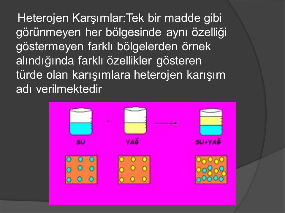Heterojen Karşımlar:Tek bir madde gibi görünmeyen her bölgesinde aynı özelliği göstermeyen farklı bölgelerden örnek alındığında farklı özellikler göst