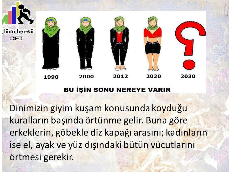 Dinimizin giyim kuşam konusunda koyduğu kuralların başında örtünme gelir. Buna göre erkeklerin, göbekle diz kapağı arasını; kadınların ise el, ayak ve