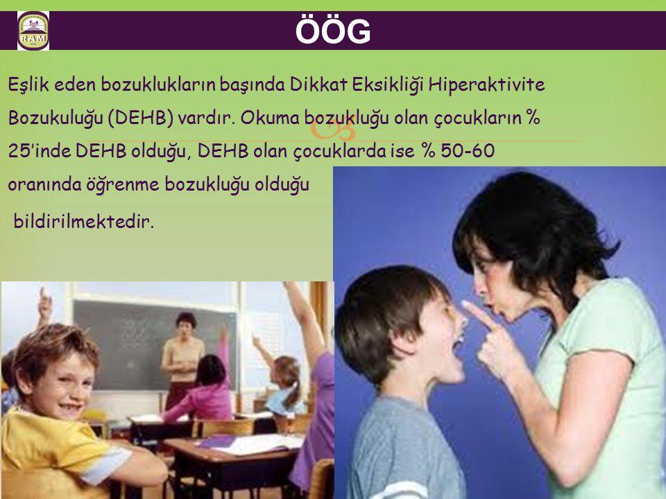  ÖÖG Eşlik eden bozuklukların başında Dikkat Eksikliği Hiperaktivite Bozukuluğu (DEHB) vardır. Okuma bozukluğu olan çocukların % 25'inde DEHB olduğu,