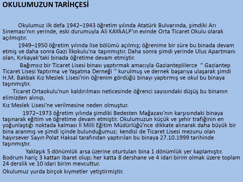 OKULUMUZUN TARİHÇESİ Okulumuz ilk defa 1942–1943 öğretim yılında Atatürk Bulvarında, şimdiki Arı Sineması'nın yerinde, eski durumuyla Ali KAYAALP'ın evinde Orta Ticaret Okulu olarak açılmıştır.