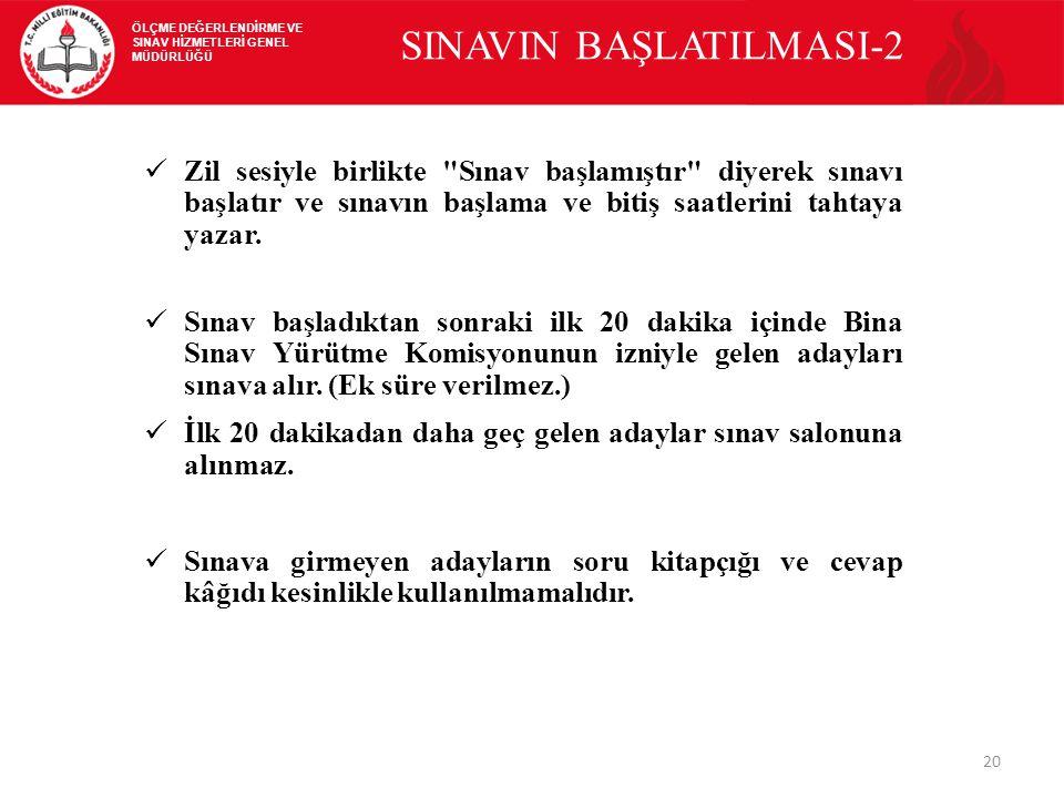 20 SINAVIN BAŞLATILMASI-2 Zil sesiyle birlikte Sınav başlamıştır diyerek sınavı başlatır ve sınavın başlama ve bitiş saatlerini tahtaya yazar.