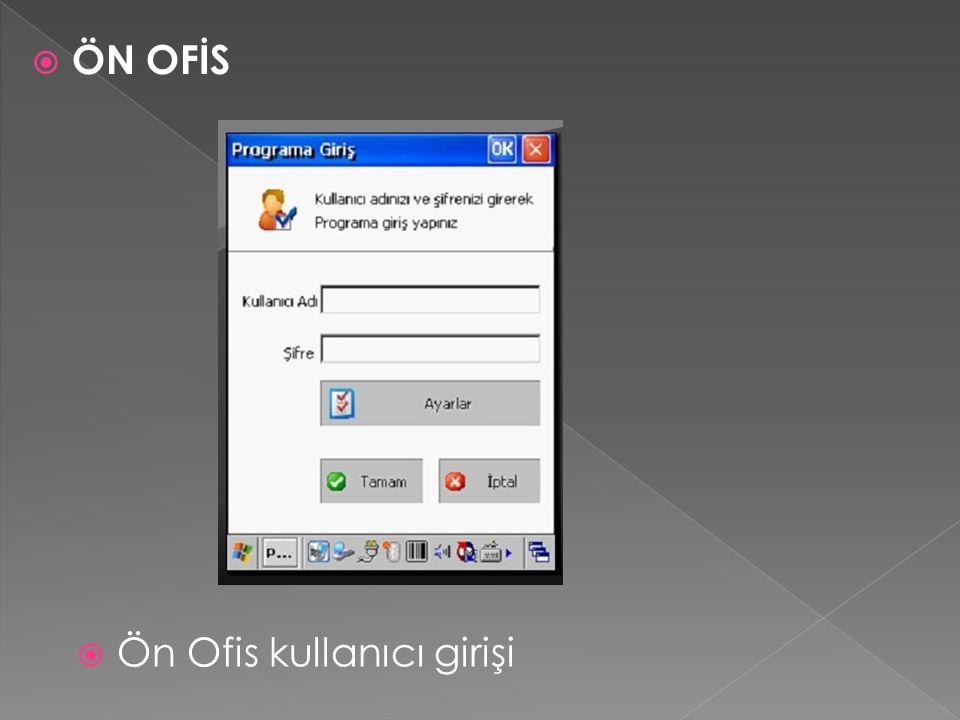  Ön Ofis kullanıcı girişi  ÖN OFİS