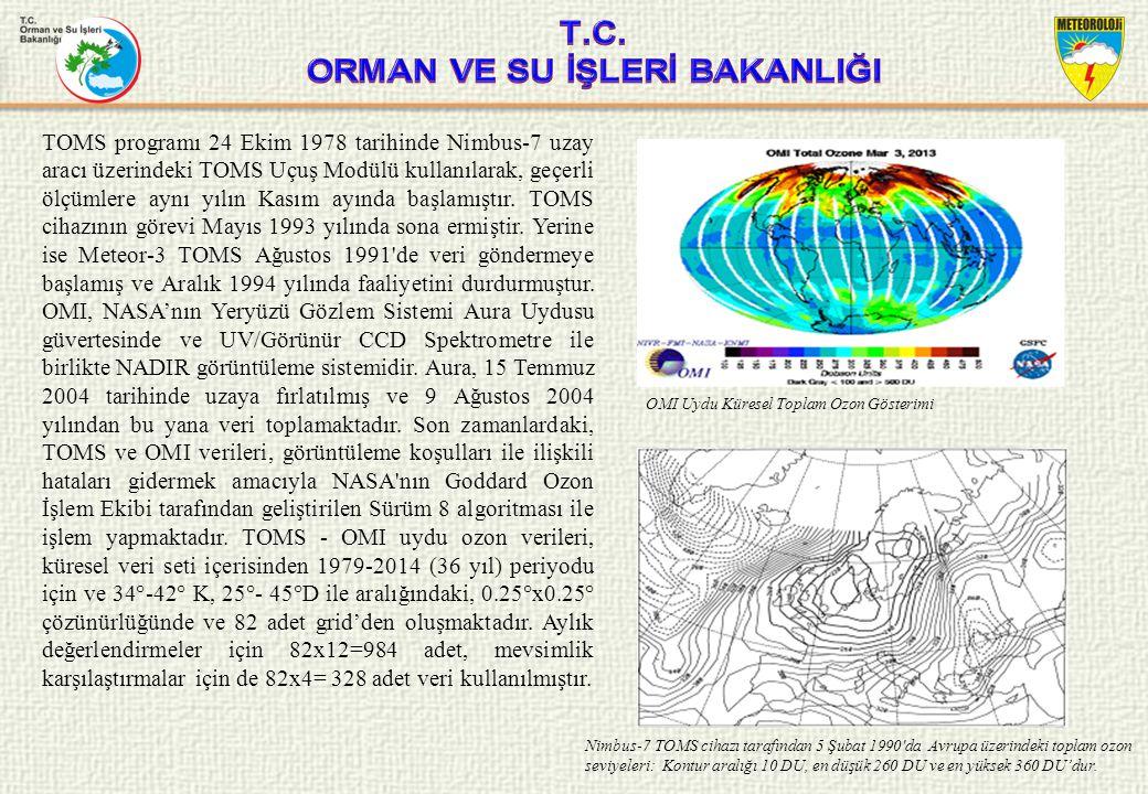 OZON TABAKASI UYDU VERİLERİ Toms –OMI uydu verileri küresel olarak yayınlanan ve koordinatları girilerek istediğiniz bölgenin veya noktanın uydu ozon verileri indirilebilmekte ve bunun gösterimi yapılabilmektedir.