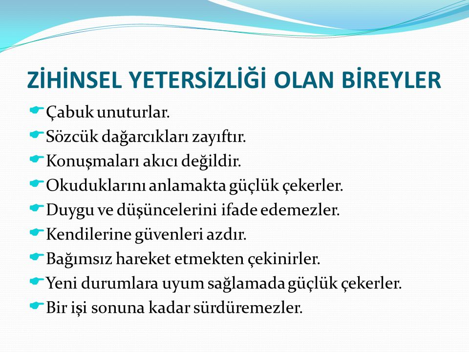 ZİHİNSEL ENGELLİ BİR ÖĞRENCİM VAR.