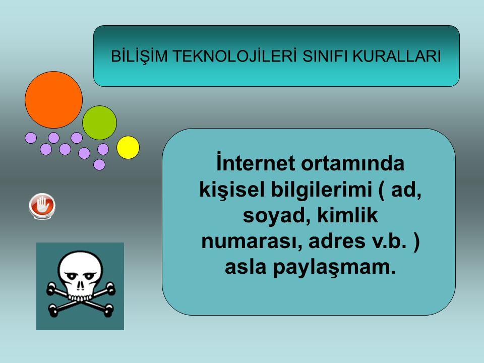 BİLİŞİM TEKNOLOJİLERİ SINIFI KURALLARI İnternet ortamında kişisel bilgilerimi ( ad, soyad, kimlik numarası, adres v.b.