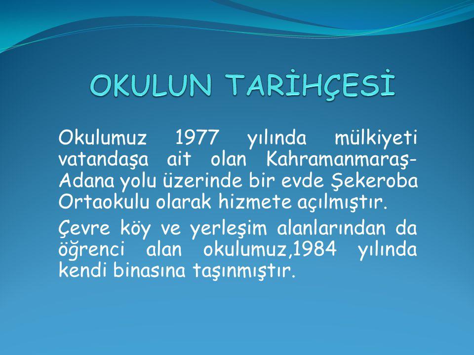 Okulumuz 1977 yılında mülkiyeti vatandaşa ait olan Kahramanmaraş- Adana yolu üzerinde bir evde Şekeroba Ortaokulu olarak hizmete açılmıştır. Çevre köy
