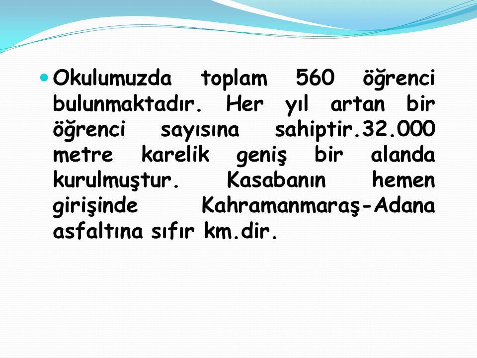 Okulumuzda toplam 560 öğrenci bulunmaktadır.
