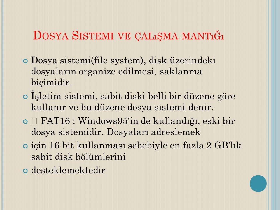D OSYA S ISTEMI VE ÇALıŞMA MANTıĞı Dosya sistemi(file system), disk üzerindeki dosyaların organize edilmesi, saklanma biçimidir. İşletim sistemi, sabi