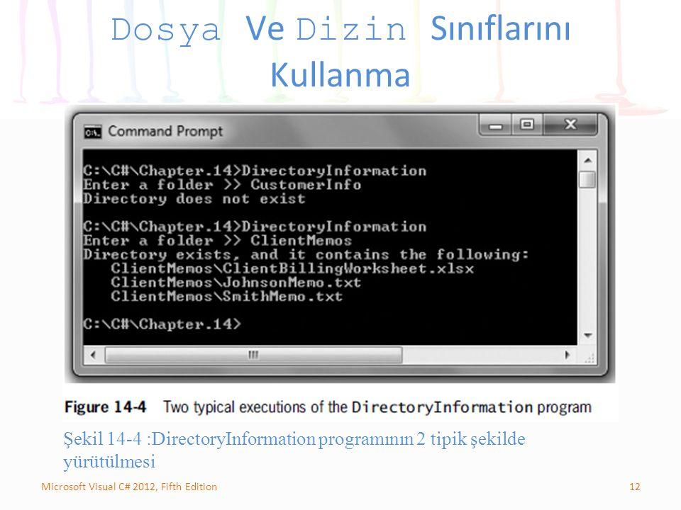12Microsoft Visual C# 2012, Fifth Edition Dosya Ve Dizin Sınıflarını Kullanma Şekil 14-4 :DirectoryInformation programının 2 tipik şekilde yürütülmesi