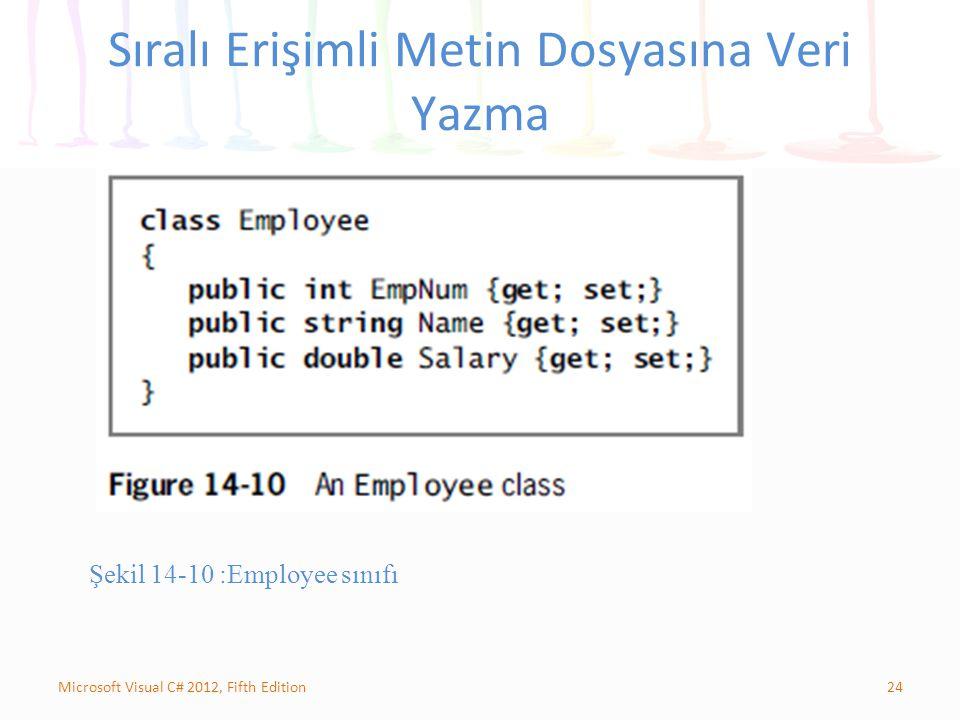 24Microsoft Visual C# 2012, Fifth Edition Sıralı Erişimli Metin Dosyasına Veri Yazma Şekil 14-10 :Employee sınıfı
