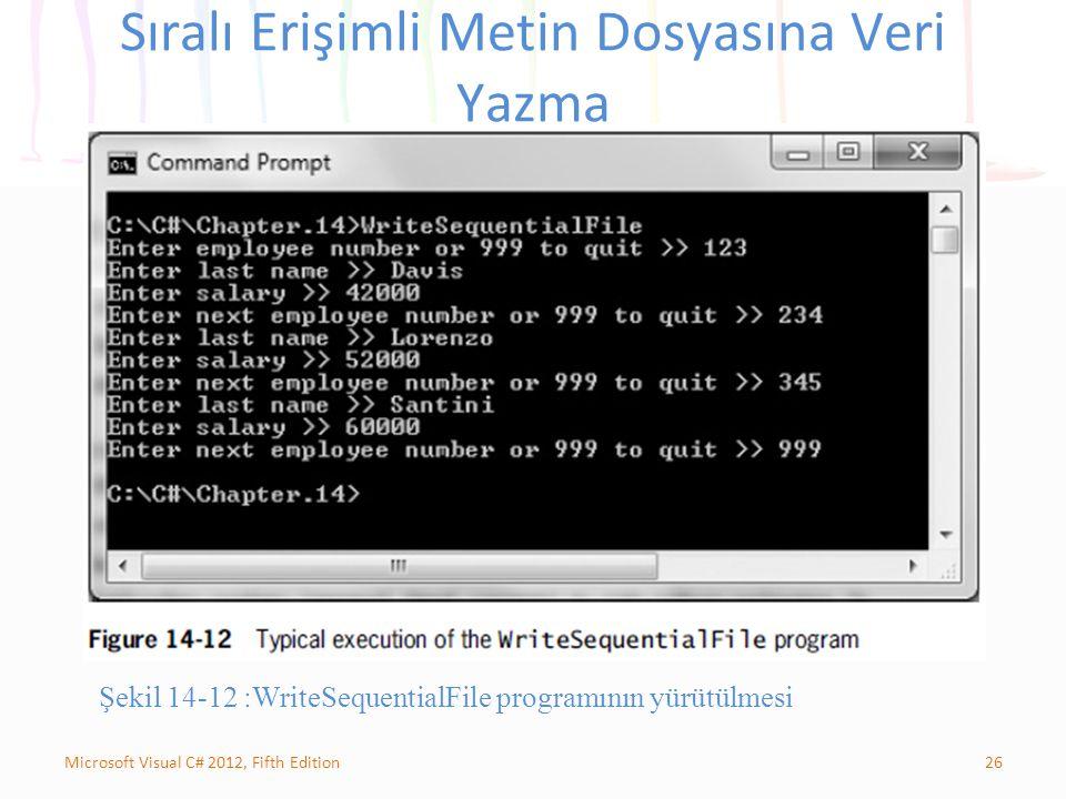 26Microsoft Visual C# 2012, Fifth Edition Sıralı Erişimli Metin Dosyasına Veri Yazma Şekil 14-12 :WriteSequentialFile programının yürütülmesi
