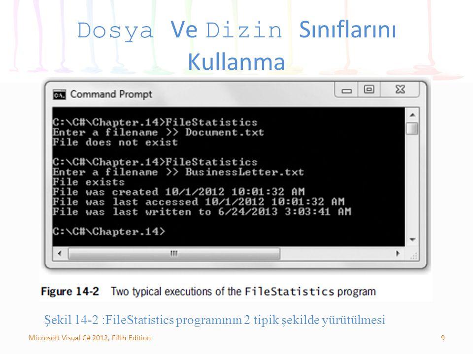 9Microsoft Visual C# 2012, Fifth Edition Dosya Ve Dizin Sınıflarını Kullanma Şekil 14-2 :FileStatistics programının 2 tipik şekilde yürütülmesi