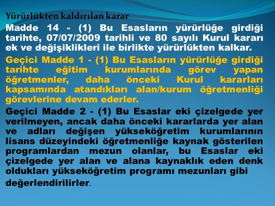 Yürürlükten kaldırılan karar Madde 14 - (1) Bu Esasların yürürlüğe girdiği tarihte, 07/07/2009 tarihli ve 80 sayılı Kurul kararı ek ve değişiklikleri