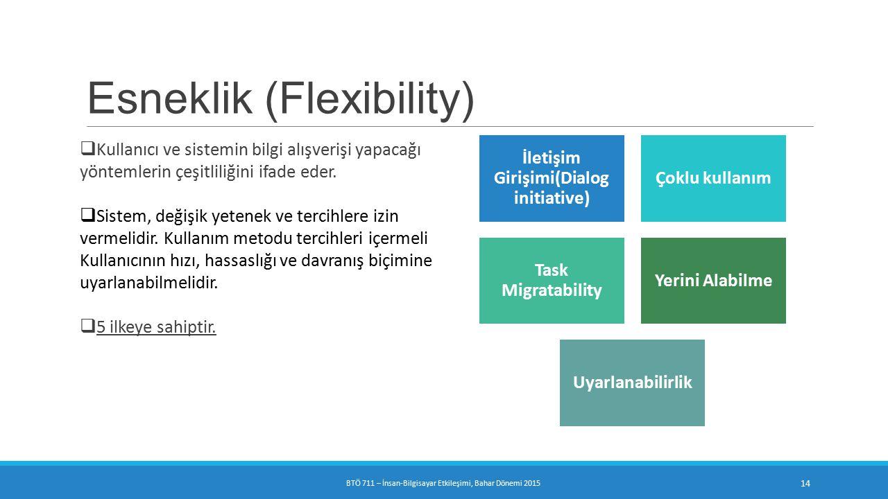 Esneklik (Flexibility)  Kullanıcı ve sistemin bilgi alışverişi yapacağı yöntemlerin çeşitliliğini ifade eder.