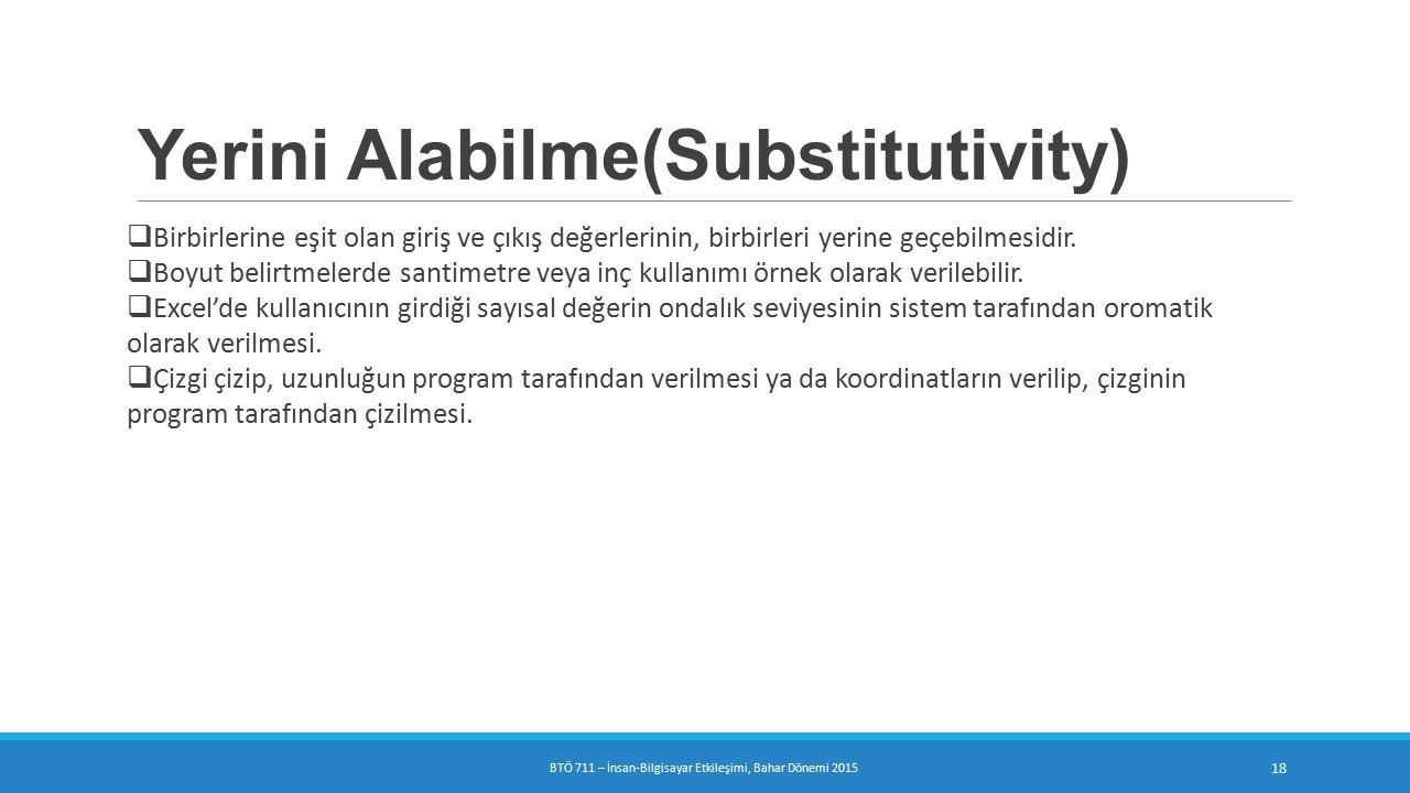 Yerini Alabilme(Substitutivity)  Birbirlerine eşit olan giriş ve çıkış değerlerinin, birbirleri yerine geçebilmesidir.