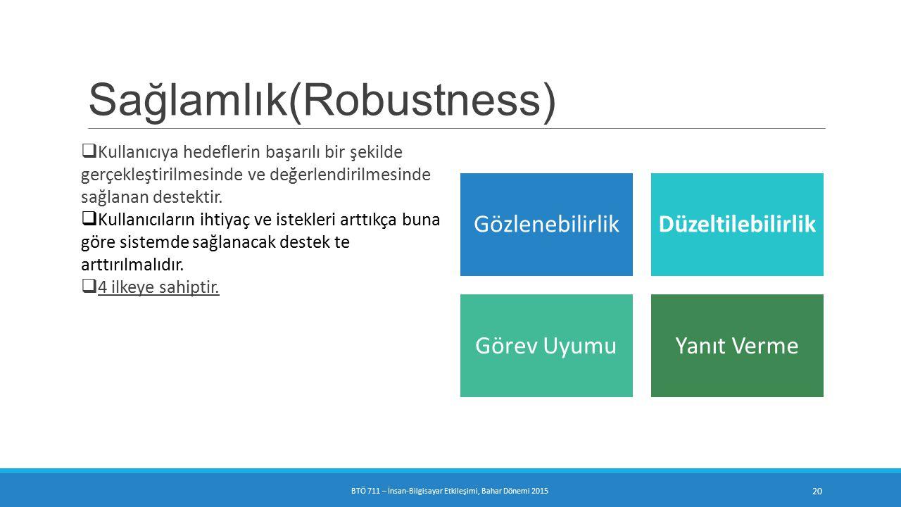 Sağlamlık(Robustness)  Kullanıcıya hedeflerin başarılı bir şekilde gerçekleştirilmesinde ve değerlendirilmesinde sağlanan destektir.