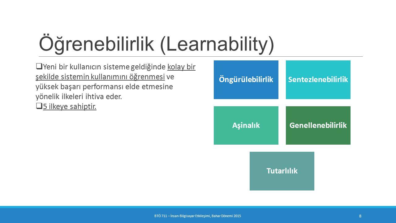 Öğrenebilirlik (Learnability)  Yeni bir kullanıcın sisteme geldiğinde kolay bir şekilde sistemin kullanımını öğrenmesi ve yüksek başarı performansı elde etmesine yönelik ilkeleri ihtiva eder.