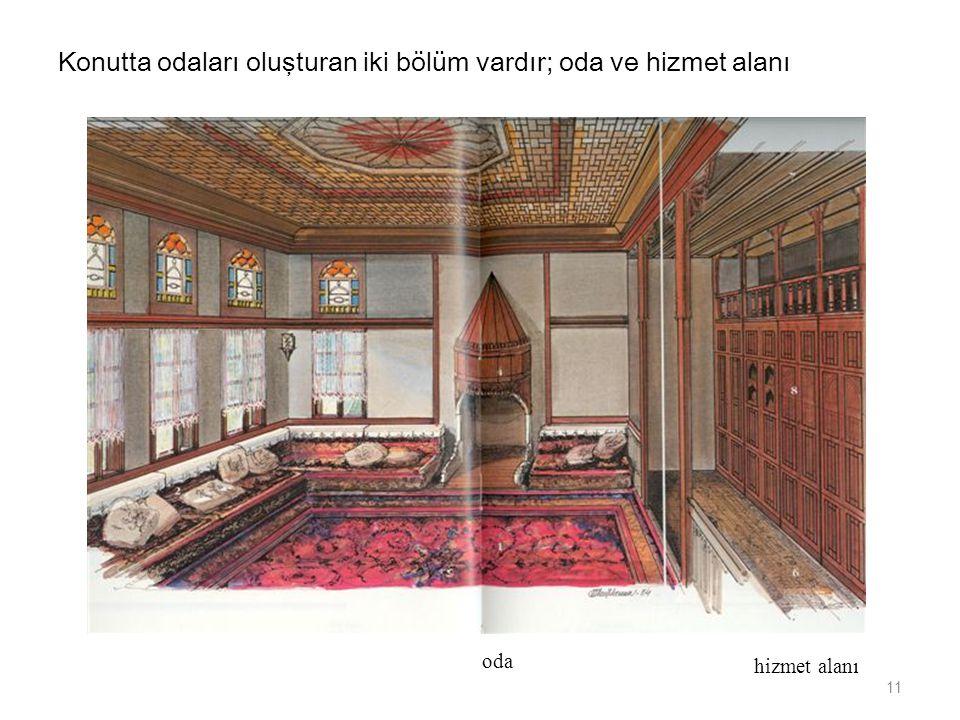 Konutta odaları oluşturan iki bölüm vardır; oda ve hizmet alanı oda hizmet alanı 11