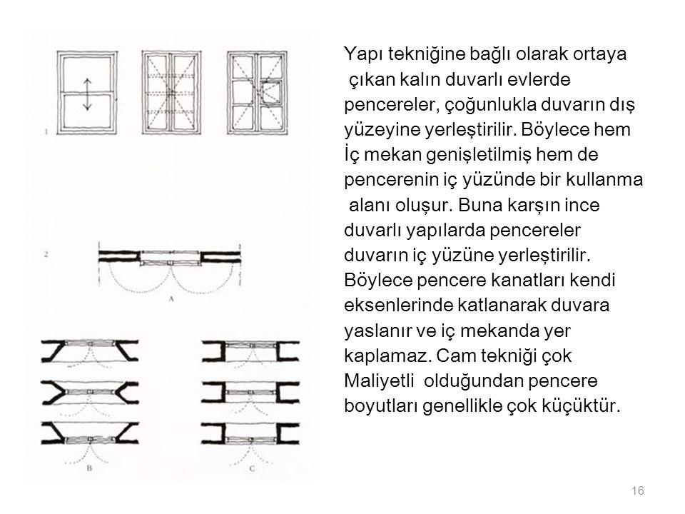 Yapı tekniğine bağlı olarak ortaya çıkan kalın duvarlı evlerde pencereler, çoğunlukla duvarın dış yüzeyine yerleştirilir. Böylece hem İç mekan genişle