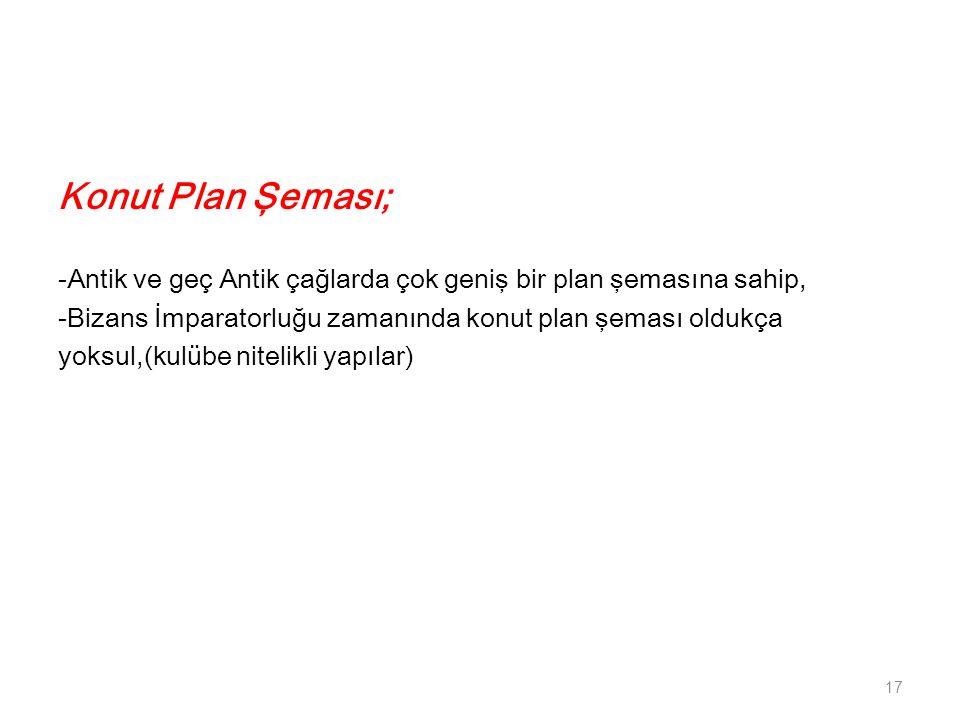 Konut Plan Şeması; -Antik ve geç Antik çağlarda çok geniş bir plan şemasına sahip, -Bizans İmparatorluğu zamanında konut plan şeması oldukça yoksul,(k