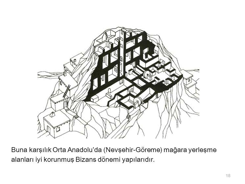 Buna karşılık Orta Anadolu'da (Nevşehir-Göreme) mağara yerleşme alanları iyi korunmuş Bizans dönemi yapılarıdır. 18