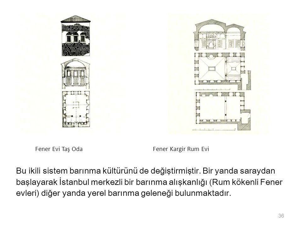 Fener Evi Taş Oda Fener Kargir Rum Evi Bu ikili sistem barınma kültürünü de değiştirmiştir. Bir yanda saraydan başlayarak İstanbul merkezli bir barınm
