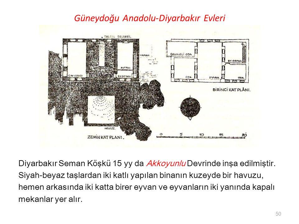 Güneydoğu Anadolu-Diyarbakır Evleri Diyarbakır Seman Köşkü 15 yy da Akkoyunlu Devrinde inşa edilmiştir. Siyah-beyaz taşlardan iki katlı yapılan binanı